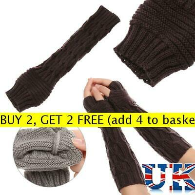 Useful Winter Long Knitted Gloves Thick Warm Finger less Mittens Arm Warmers Hot