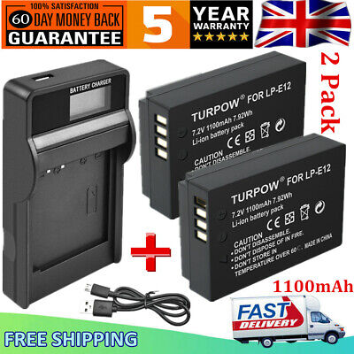 2x 1100mAh LP-E12 Battery + USB Charger for Canon EOS M M2 M10 M50 M100 100D SL1