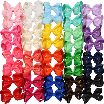"""40PCS 4.5"""" Hair Bow Clips for Girls Gold Edge Ribbon Feature Bow Alligator Clips"""