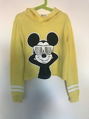Girls H&M Hoodie Top Age 10-12 Years Cropped Mickey Mouse Disney Character