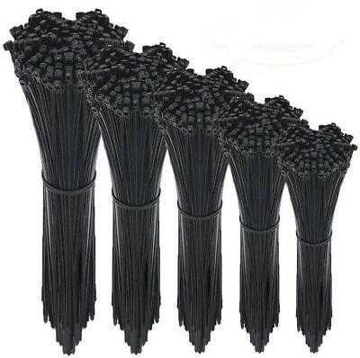 "100-500pcs 4"" to 12"" USA INDUSTRIAL BLACK WIRE CABLE ZIP UV NYLON TIE WRAPS"