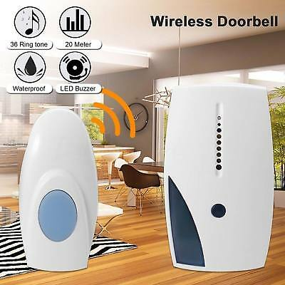Wireless Doorbell Battery Operated Door Bell Remote Button and Plugin Receiver R