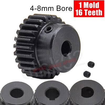 16T Mod1 Steel Pinion Gear With Set Screw 4-8mm Bore Straight Tooth Spur Gears