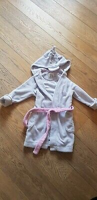 Girls Joules Grey Hooded Dressing Gown Age 5-6 in Good Condition