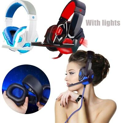 Auriculares Gaming Gamer Cascos LED Estéreo con MIC Headset Para Xbox One PS4