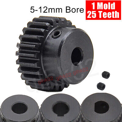 25T Mod1 Steel Pinion Gear With Set Screw 5-15mm Bore Straight Tooth Spur Gears