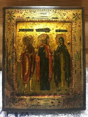 """Antique 19c Russian Orthodox Hand Painted Wood Icon """"Selected Saints"""""""