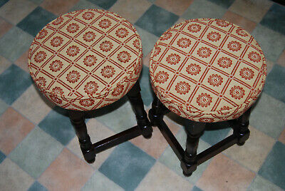 Pair Of Vintage Oak Stools..beautifully Upholstered. Very Very Solid.