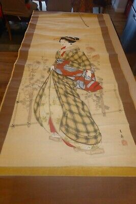 Japanese Hanging Scroll Japan Woman Lady Antique