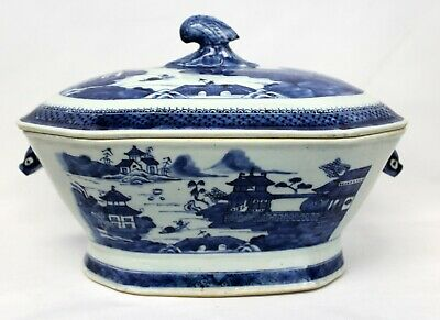 Blue & White Chinese Canton Boars Head Soup Tureen Late 18th Early 19th Century