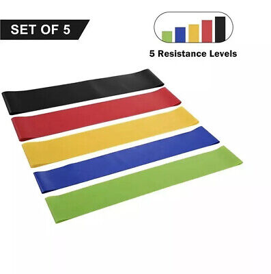 Set of 5 Resistance Loop Bands for Exercise Sports Fitness Home Gym Yoga