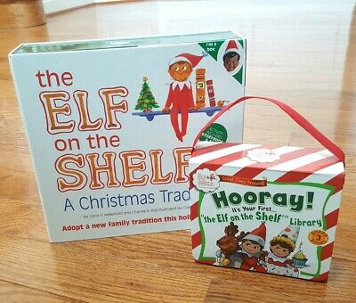 NEW GENUINE Elf On The Shelf Dark Skin Dark Brown Hair Brown Eyes BOY & Books