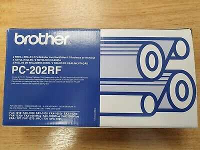 Genuine Brother PC-202RF Fax Rolls TWIN PACK (PC202RF) FOR BROTHER FAX MACHINES