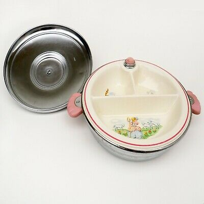 """1950s Bartsch Child's Chrome-Plated Divided Warming Dish """"Little Bo Peep"""""""