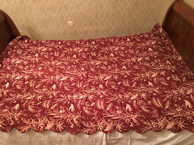 Antique French 1820 Handmade Boutis Quilt. Pastoral Pattern. Scalloped Edges