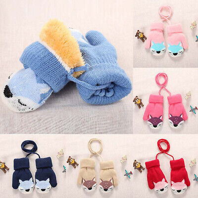 Winter Children Gloves Wool Thick Double Knit Cartoon Cute Warm Outdoor Gloves *