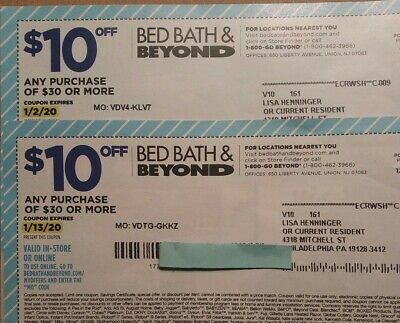 Bed Bath & Beyond coupons 2 $10 OFF & 4 20% off