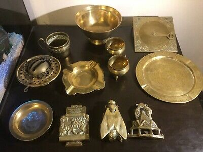 Job lot large collection of antique vintage solid brass items