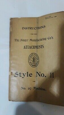 Original Manual Instructions Singer Sewing Machine Attachments Style No.11 1903