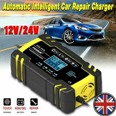 4/8 Amp Intelligent Car Battery Charger Pulse Repair Starter 12V/24V AGM/GEL UK