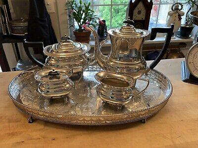 Viners Of Sheffield Alpha Silver Plate Coffee/ Tea Service With Tray
