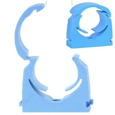 WATER PLUMBING PIPE SINGLE HINGED NEW MDPE CLIPS 20mm, 25mm, 35mm BLUE PACKS