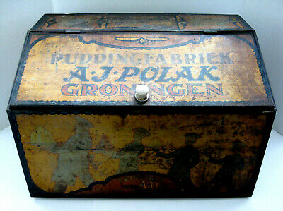 LARGE 1920s Art Deco A J Polak PUDDING Groningen- ANTIQUE TIN BOX