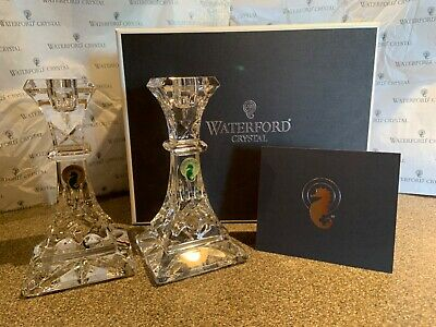 "Waterford Lismore 6"" Candlestick Pair #107633 Clear Crystal  Nib"