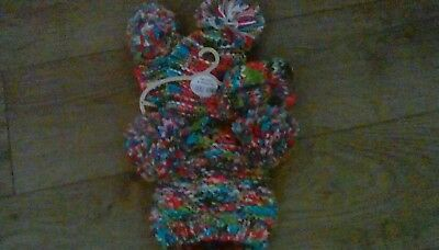 BABY GIRLS NEXT WINTER pom pom hat scarf and mitts 3 part set 3-9 months tags