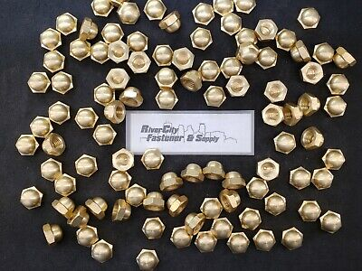 (50) 5/8-11 Brass Acorn / Dome / Cap Hex Nut 5/8 x 11 Nuts 5/8x11 Nut