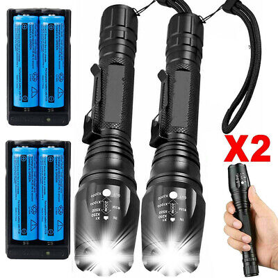 2 pack 990000Lumens Powerful Police Tactical Flashlight 5 Modes Brightest Torch