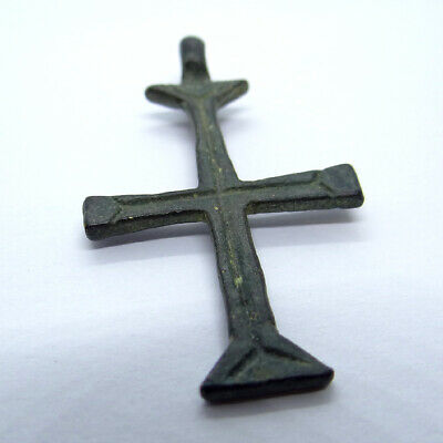 Medieval Crusades Ancient Artifact Bronze Catholic Cross