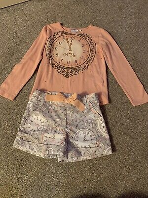 Girls Clock Adee  Top And Shorts Age 8-10 Years