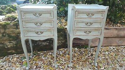 Pair Of French Antique Bedside Tables(Duck egg blue)