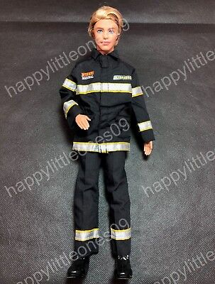 Ken Doll Firefighter Rescue Uniform Suit Outfit Clothes & Tall Boots Barbie New