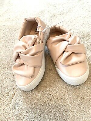 Primark Girls Pink Pumps Slip On Bow Shoes Trainers Flats Infant Size 6. BNWT!