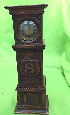 Windup Brass Clock in 1916 Wooden Grandfather Style Case w/ Secret Compartment