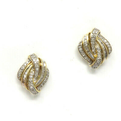 NYJEWEL 14k Yellow Gold 0.7ct Diamond Earrings 18x14mm Gift