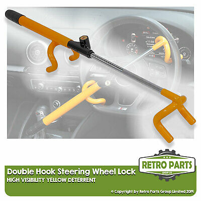 High Vis Steering Wheel Lock For Mobile Home. Double Hook Deterrent Security