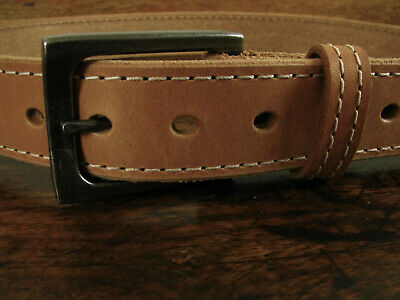 """Mens THICK Natural Stitched Bullhide Gun Belt 1 1/2"""" Wide Fits 34"""" Made in USA"""