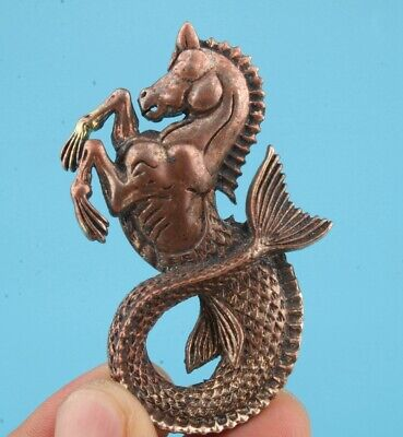 China Copper Pendant Statue Seahorse Mascot Decorated Handicraft Gift Old