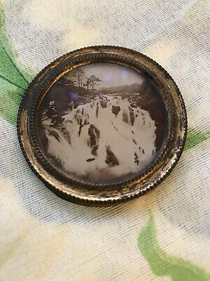 Antique Victorian 19th century Waterfall Photo In Round Frame Niagra Victoria