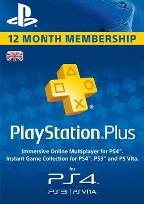 Playstation Plus 12 Month Membership PSN Code PS Store - SONY 1 Year UK Only