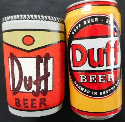 The Simpsons empty DUFF BEER Can & DUFF BEER Stubby Holder