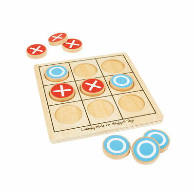Bigjigs Toys Wooden Noughts & Crosses Tic Tac Toe Traditional Game Play Set