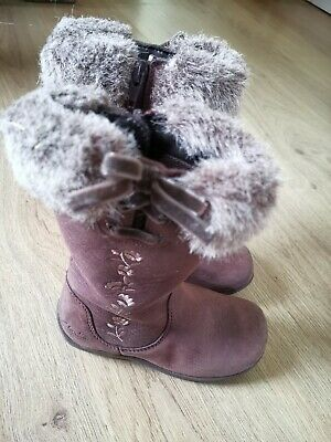 Clarks Baby Girls Brown Leather Boots Size Uk 7.5 G
