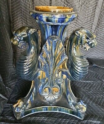 Clement Massier Victorian Gothic French Majolica Figural Griffin Jardiniere Base