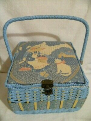 Shabby Chic Vintage Sewing Basket Wicker Lge Blue Holly Hobbie Style Box Storage