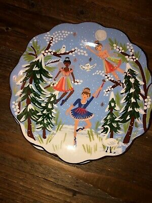 Anthropologie Rifle Paper Co Nutcracker Fairies Christmas Dessert Plate Gold Rim