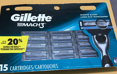 New Gillette MACH 3 ( 15 ) Count Cartridges ~ Free USA Shipping!